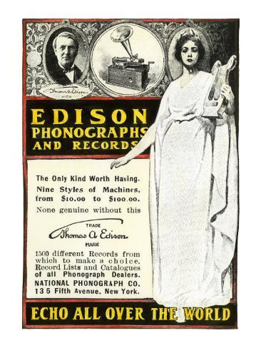 Advertisement for Edison Phonographs and Records, National Phonograph Co., 1901 Giclee Print