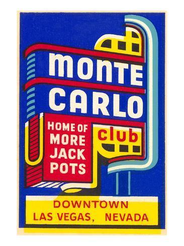 Advertisement for Monte Carlo Club, Las Vegas, Nevada Art Print