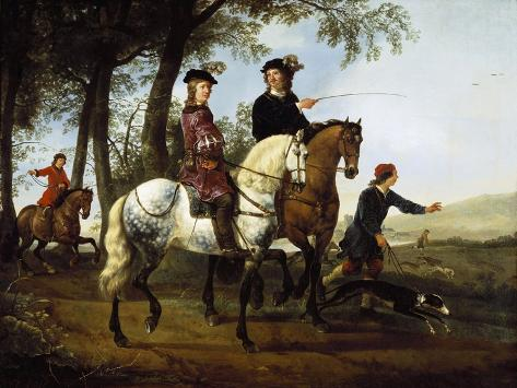 Landscape with Sportsmen Setting Out for the Hunt, Early 1650S Giclee Print