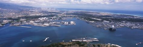 Aerial View of a Harbor, Pearl Harbor, Honolulu, Oahu, Hawaii, USA Photographic Print