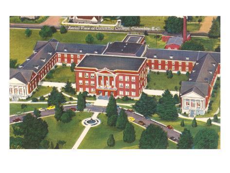 Aerial View of Columbia College, Columbia, South Carolina Art Print