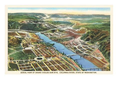 Aerial View of Grand Coulee Dam, Washington Art Print