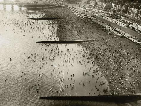 Aerial View of the Beach at Brighton, Sussex (1933) Stretched Canvas Print
