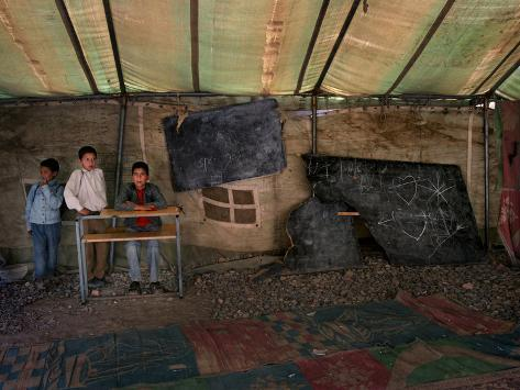 Afghan Boys Wait for Other Students and the Teacher Fotoprint