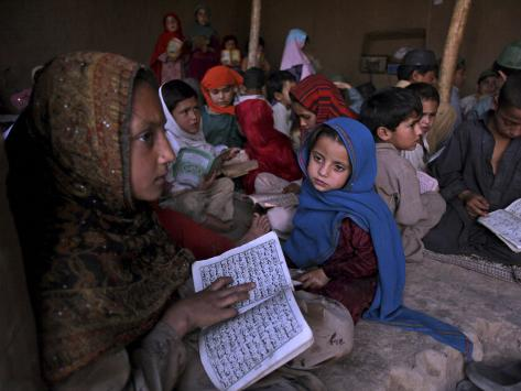 Afghan Refugee Children Holding Copies of the Quran, Repeat after their Teacher Photographic Print
