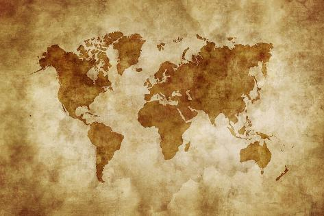 Aged World Map on Dirty Paper Art at AllPosters.com