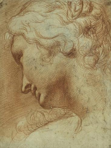 Head of a Young Woman Looking Down over Her Right Shoulder Lámina giclée