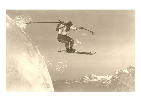 Airborne Skier over Mountains Konstprint