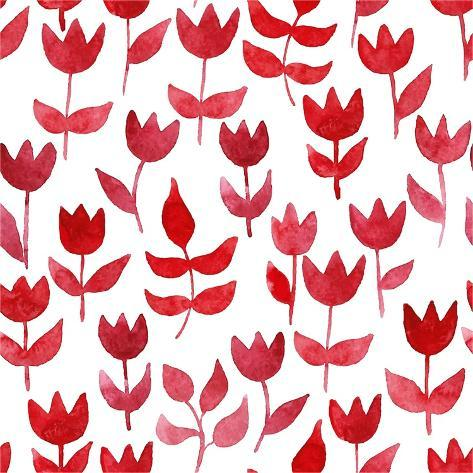 Seamless Pattern with Watercolor Tulips. Vector Background for Fabric, Wrapping Paper, Print and We Stampa artistica