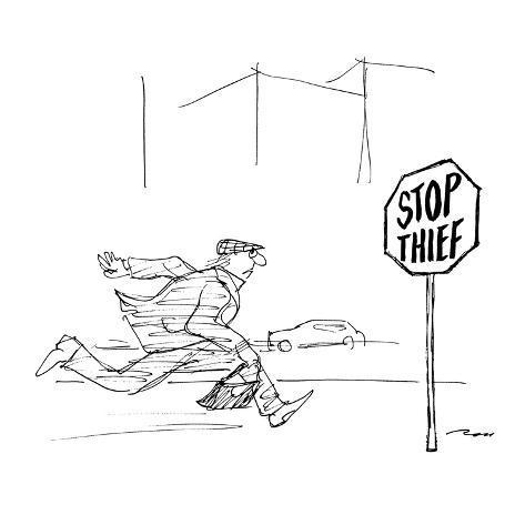 Criminal runs past stop sign reading