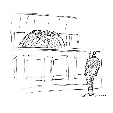 Marvelous The Supreme Court Huddles Behind A Bench While A Man Waits Before Them New Yorker Cartoon Machost Co Dining Chair Design Ideas Machostcouk