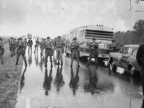 Alabama Guardsmen Protecting Freedom Riders Bus Photographic Print