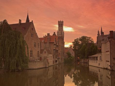 Belfort and River Dijver, Bruges, Belgium Photographic Print