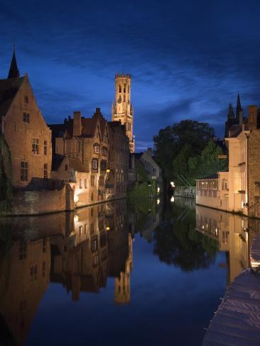 Belfort and River Dijver, Bruges, Flanders, Belgium Photographic Print