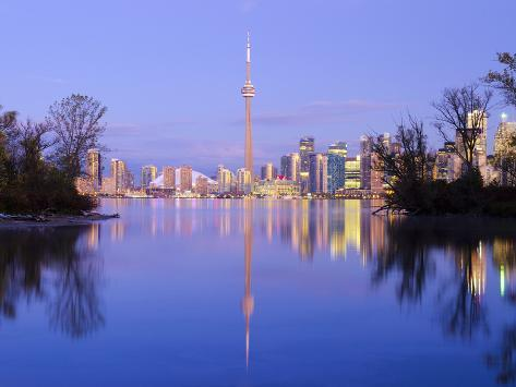 Canada, Ontario, Toronto, Cn Tower and Downtown Skyline from Toronto Island Photographic Print