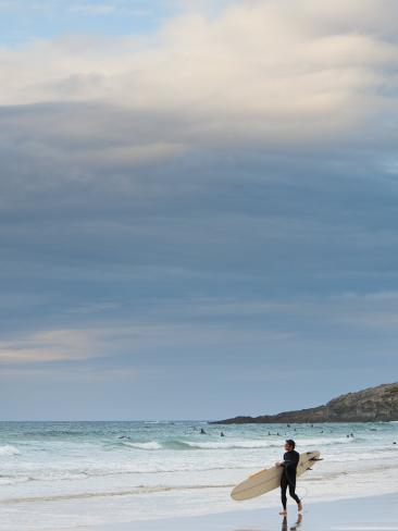 England, Cornwall, Newquay, Fistral Beach, Surfers, UK Photographic Print