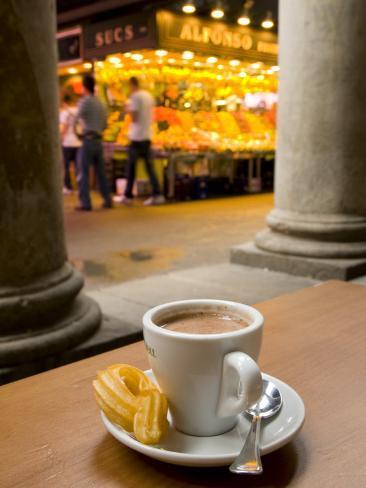 La Rambla, La Boqueria Market, Chocolate con Churros Breakfast, Barcelona, Spain Photographic Print