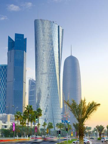 Qatar, Doha, Left to Right Palm Tower, Al Bidda Tower and Burj Qatar Photographic Print