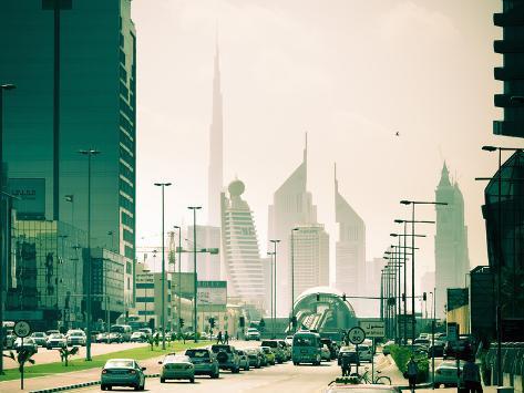 Uae, Dubai, Trade Centre Road, Burj Khalifa and Emirates Towers with Al Karama Metro Station in For Photographic Print