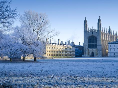 UK, England, Cambridgeshire, Cambridge, the Backs, King's College Chapel in Winter Photographic Print