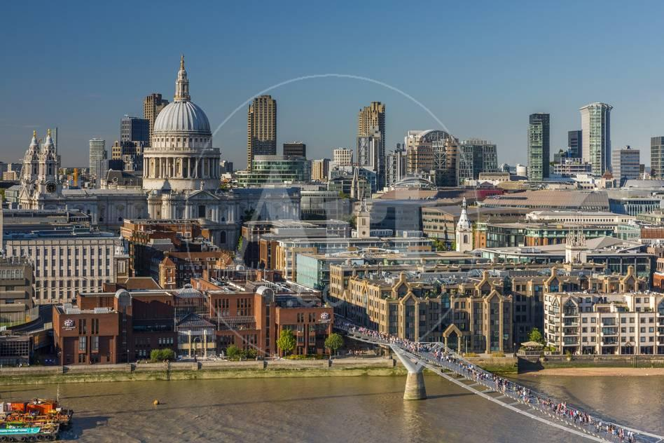 UK, England, London, St  Paul's Cathedral and City of London Skyline