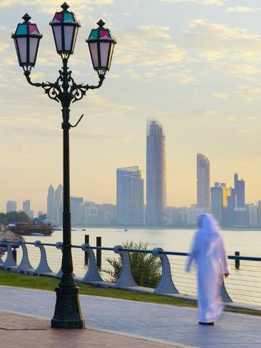 United Arab Emirates, Abu Dhabi, City Skyline at Dawn Photographic Print