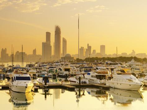 United Arab Emirates, Abu Dhabi, City Skyline from Abu Dhabi International Marine Sports Club Photographic Print