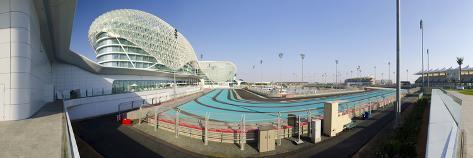 United Arab Emirates, Abu Dhabi, Yas Island, the Yas Hotel and Yas Marina Grand Prix Motor Racing C Photographic Print