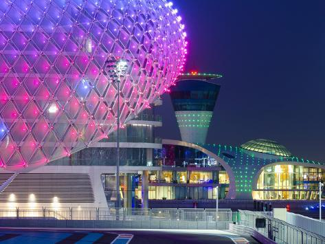 United Arab Emirates, Abu Dhabi, Yas Island, the Yas Hotel and Yas Marina Grand Prix Motor Racing C Photographic Print