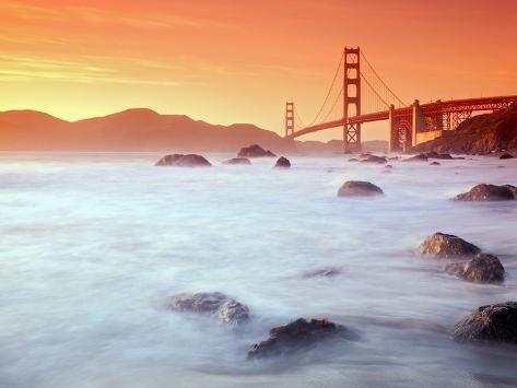 USA, California, San Francisco, Golden Gate Bridge from Marshall Beach Photographic Print
