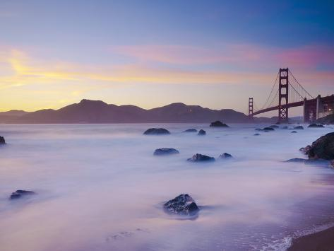 USA, California, San Francisco, Golden Gate Bridge from Marshall Beach Photographic Print
