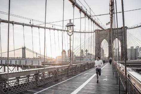 Usa, New York, Manhattan, Brooklyn Bridge at Sunrise Valokuvavedos