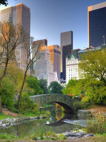 USA, New York, Manhattan, Central Park, the Pond Photographic Print