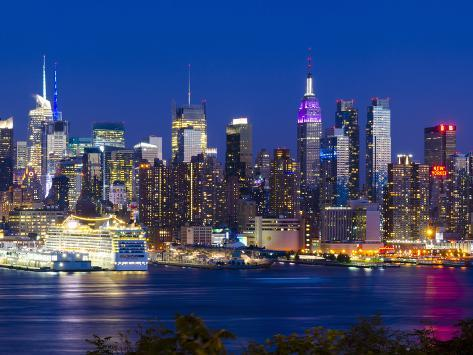 USA, New York, Manhattan, Midtown Skyline with the Empitre State Building across the Hudson River Photographic Print