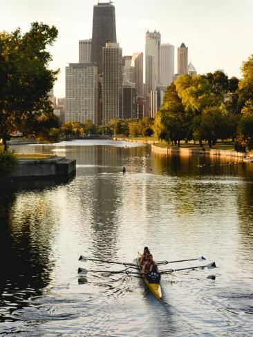 Rowers in Lincoln Park lagoon at dawn, Chicago, Illinois, USA Photographic Print