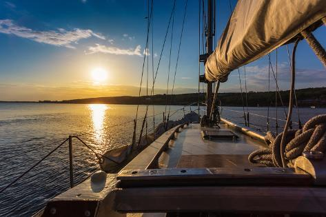 Sunset at Sea on aboard Yacht Sailing Photographic Print