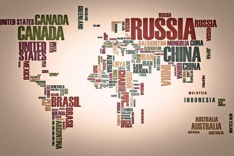 World map countries in wordcloud lminas por alanuster en allposters world map countries in wordcloud lmina gumiabroncs Gallery
