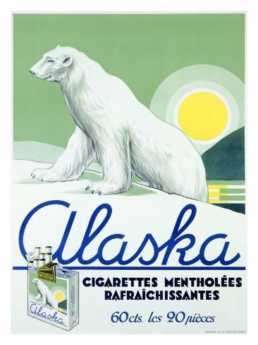 Alaska Brand Polor Bear Cigarette Giclee Print