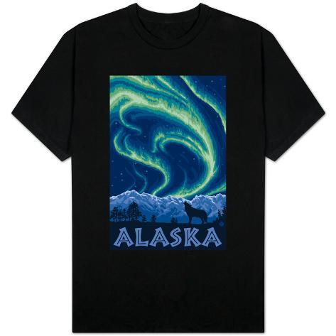 Alaska Northern Lights and Wolf T-Shirt