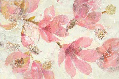 Magnolias in Bloom on White Art Print