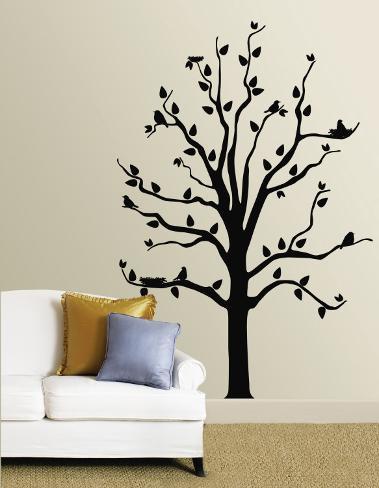 Albero Nero Con Uccelli (Sticker Murale) Decalcomania Da Muro Su