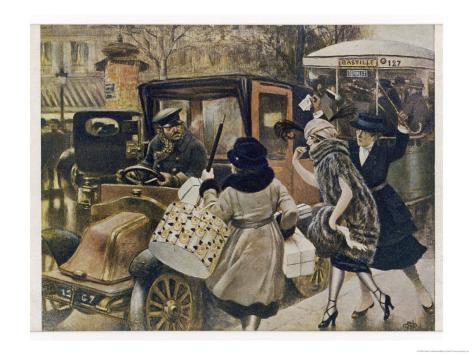 Three Parisiennes Compete for a Cab, But Which Will the Cabbie Favour? Giclee Print