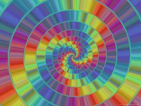 Abstract Multi-Coloured Spiral Design Photographic Print