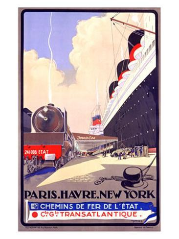 Paris-Havre-New York Giclee Print