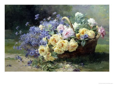 Basket of Flowers Giclee Print