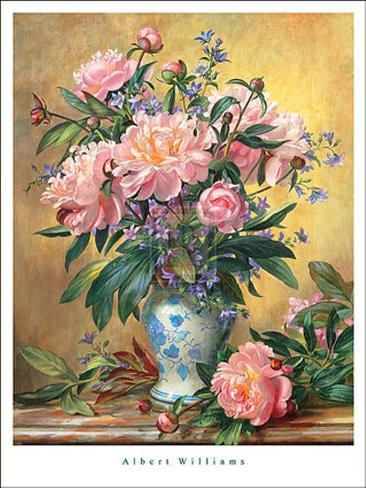 Vase of Peonies and Canterbury Bells Art Print