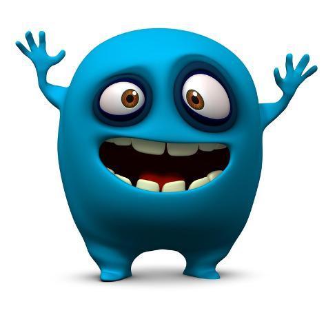 Happy Blue Monster Art Print