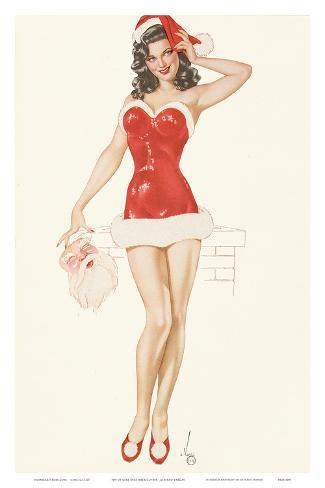 Pin Up Girl December c.1940s Art Print