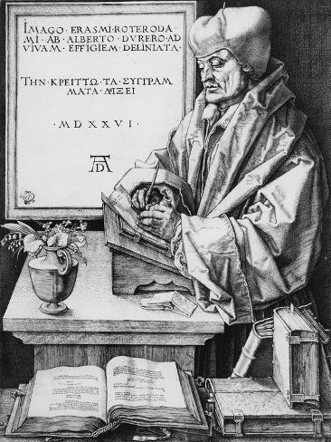 Desiderius Erasmus (1466-1536) of Rotterdam, 1526 (Engraving) Lámina giclée