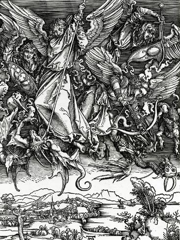 St. Michael Fighting the Dragon, 1498 (Woodcut) Giclee Print